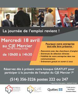Affiche recruteurs journée de l'emploi avril 2018 CJE Mercier